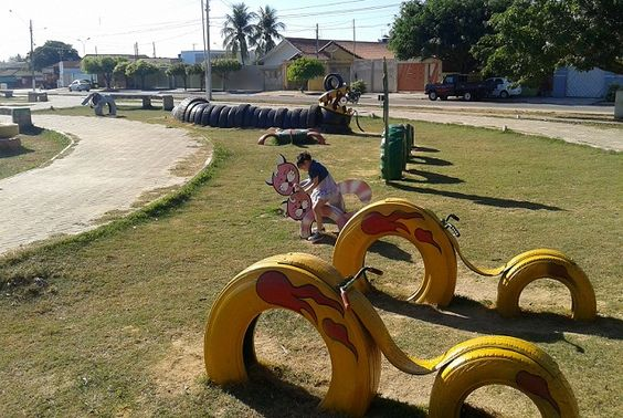 ozdoby z opon plac zabaw  rower