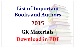 List of Important Books and its Authors 2015 GK Study Materials- Download in PDF