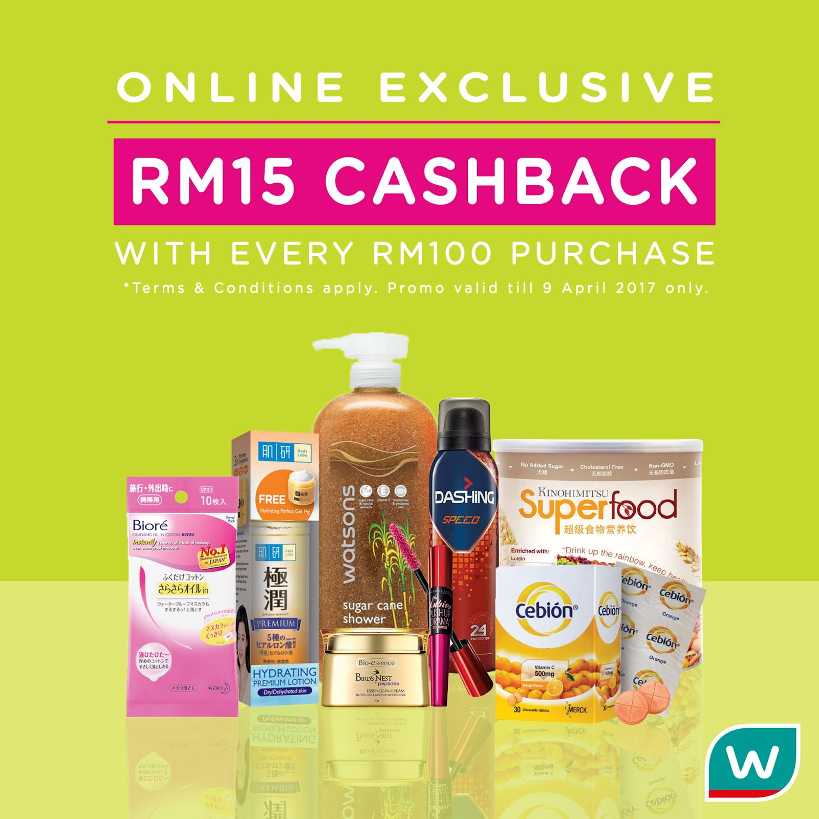 Watsons Online Store FREE RM15 Cashback eVoucher for Every ...  Watsons