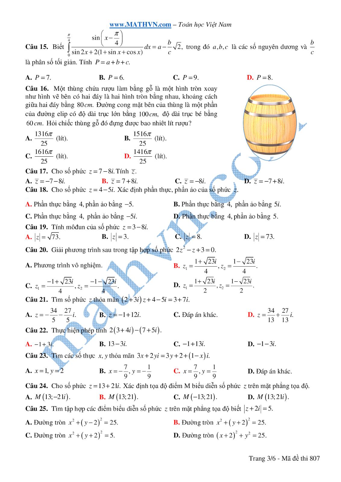 đề thi học kì 2 toán 12