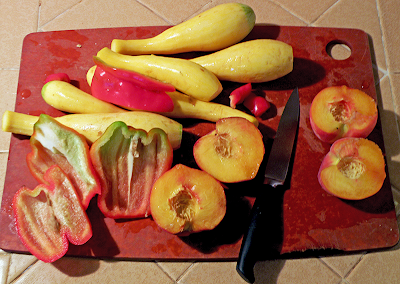 Cutting Board with Bell Peppers, Peaches, Squash