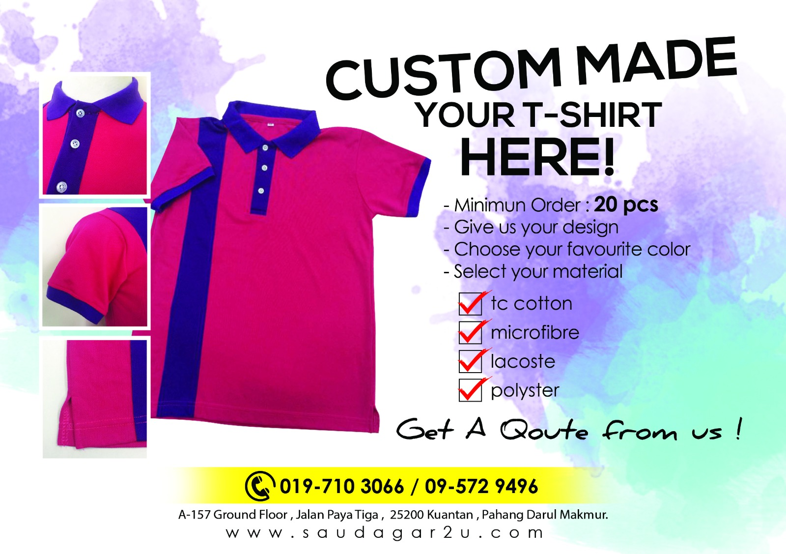Black t shirt tambah lagi - Promosi Moq 20 Pieces