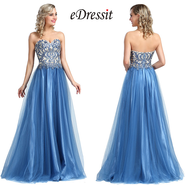 eDressit Strapless Blue Beaded Embroidery Evening Dress