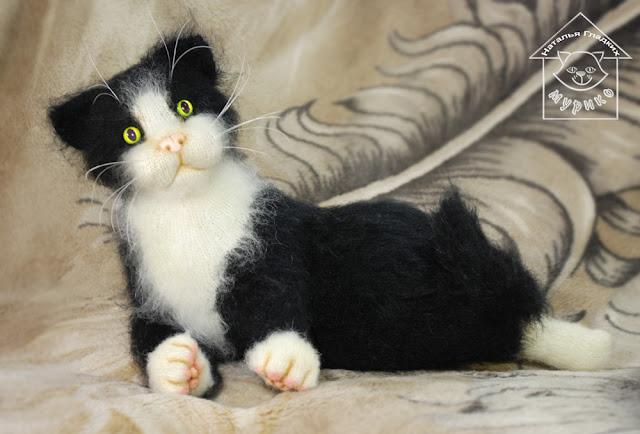Игрушка, котенок, кошка, кошка с котятами, авторская кукла, мурико, вязаная игрушка спицами
