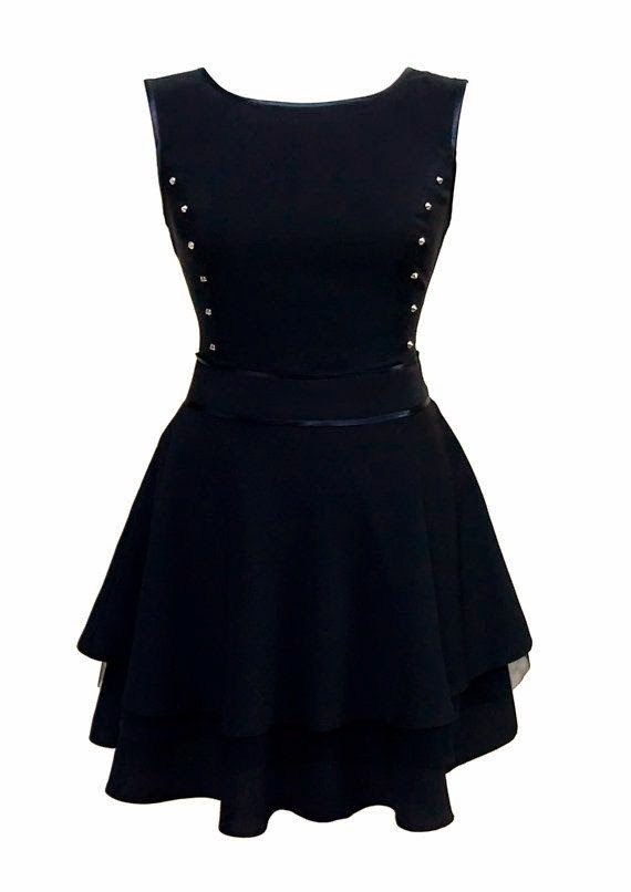 Flared Black Mini Skirt Dress For Teens With Stud by JERSA Dress