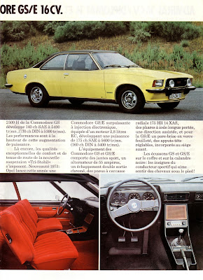 Sales brochure page for Opel Commodore B series