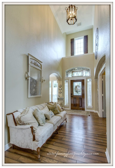 French Farmhouse Foyer-Board And Batten Shutters-Two Story-French Coutry-From My Front Porch To Yours