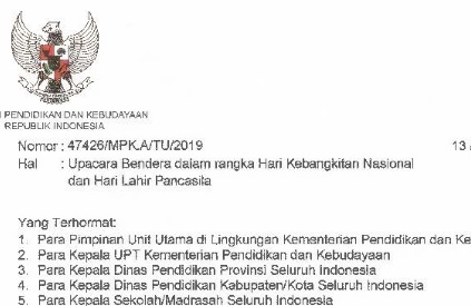 Juknis Pelaksanaan Upacara Bendera Harkitnas dan Hari Lahir Pancasila  SD:  Juknis Pelaksanaan Upacara Bendera Harkitnas dan Hari Lahir Pancasila 2019