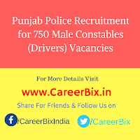 Punjab Police Recruitment for 750 Male Constables (Drivers) Vacancies