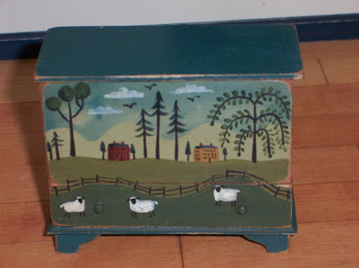 miniature blanket chest, painted, for dollhouse