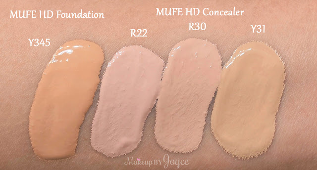 Makeup Forever Ultra HD Foundation Y345 Concealer R22 R30 Y31 Swatch