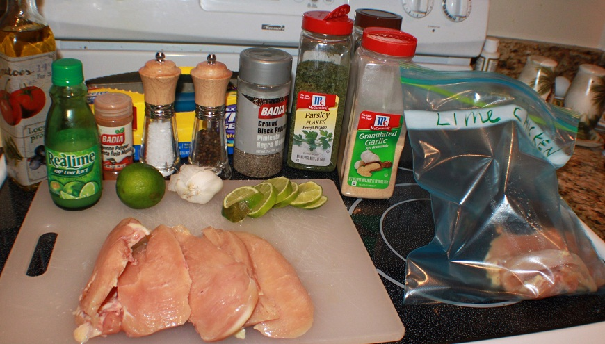 this is a lime pepper chicken marinade for the freezer. Lime and spices are in a freezer bag with raw chicken marinating until ready to use. This is an easy and fast marinade to make juicy tender chicken for any cooking need like grilled chicken, fried chicken, slow cooker chicken already flavored and ready to use in one freezer bag