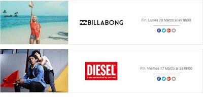 ropa barata de las marcas Billabong y Diesel