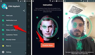 شرح تفعيل ميزة القفل باستخدام الوجه علىتطبيق IObit Applock