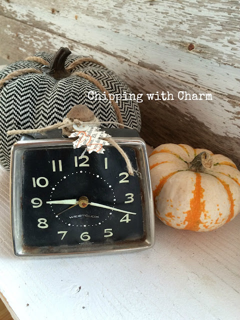 Chipping with Charm: Clock, Repurposed Pumpkins www.chippingwithcharm.blogspot.com