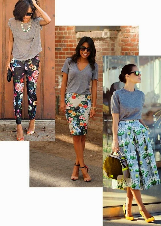 gray tshirts with floral skirt www.loweryourpresserfoot.blogspot.com