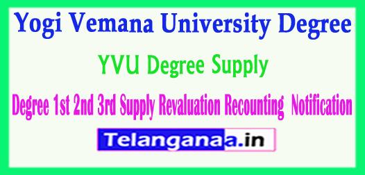 YVU Yogi Vemana University Degree Supply Revaluation Recounting  Notification 2018