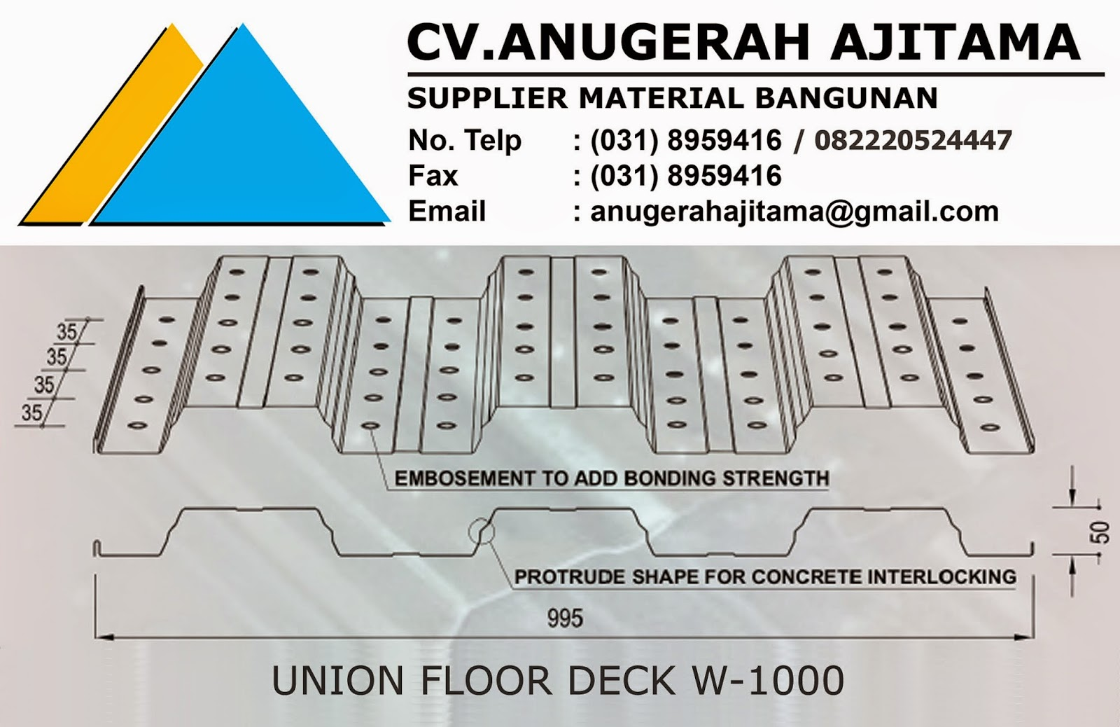 PROFIL UNION FLOOR DECK W-1000