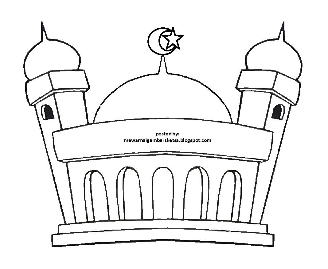 Mewarnai Gambar Mewarnai Gambar Sketsa Masjid 18