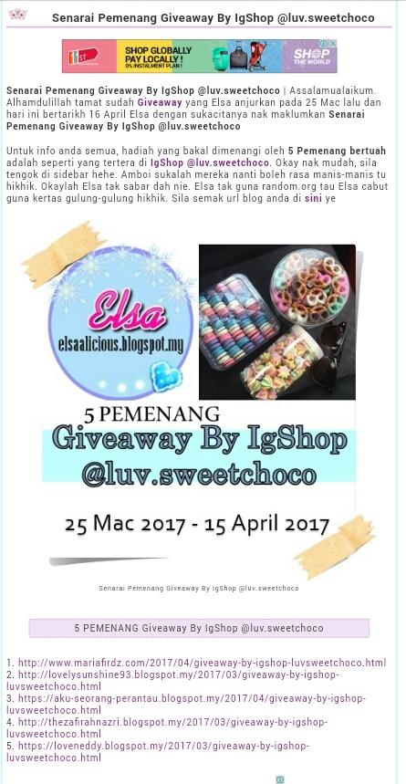 Menang Giveaway by Ig luv.sweetchoco