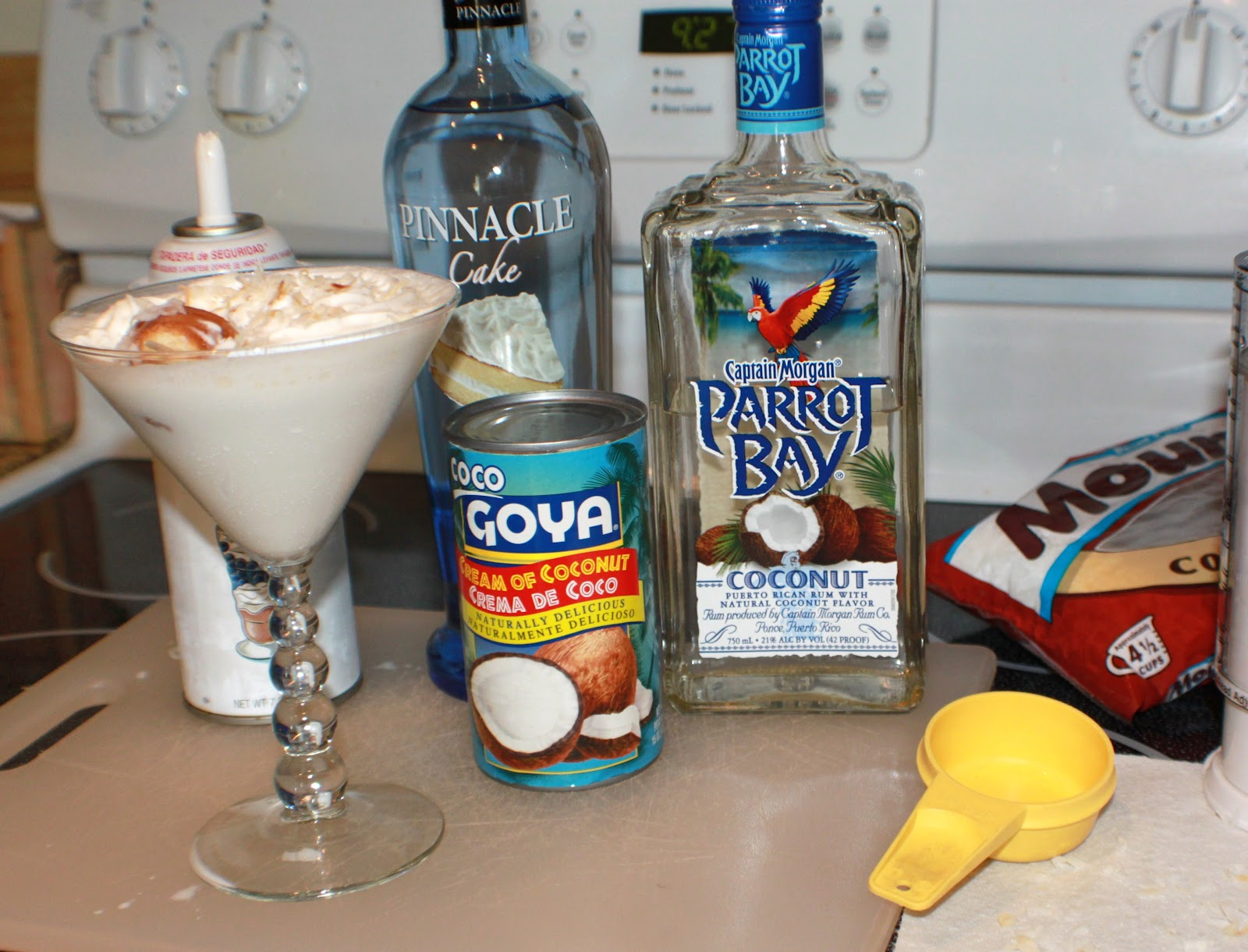 this is coconut cream and cake vodka mixed in a martini glass