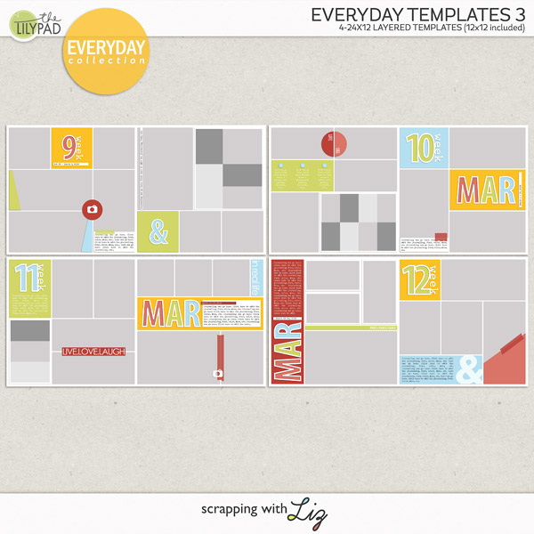 Digital Scrapbook Templates: Everyday Life Templates 3