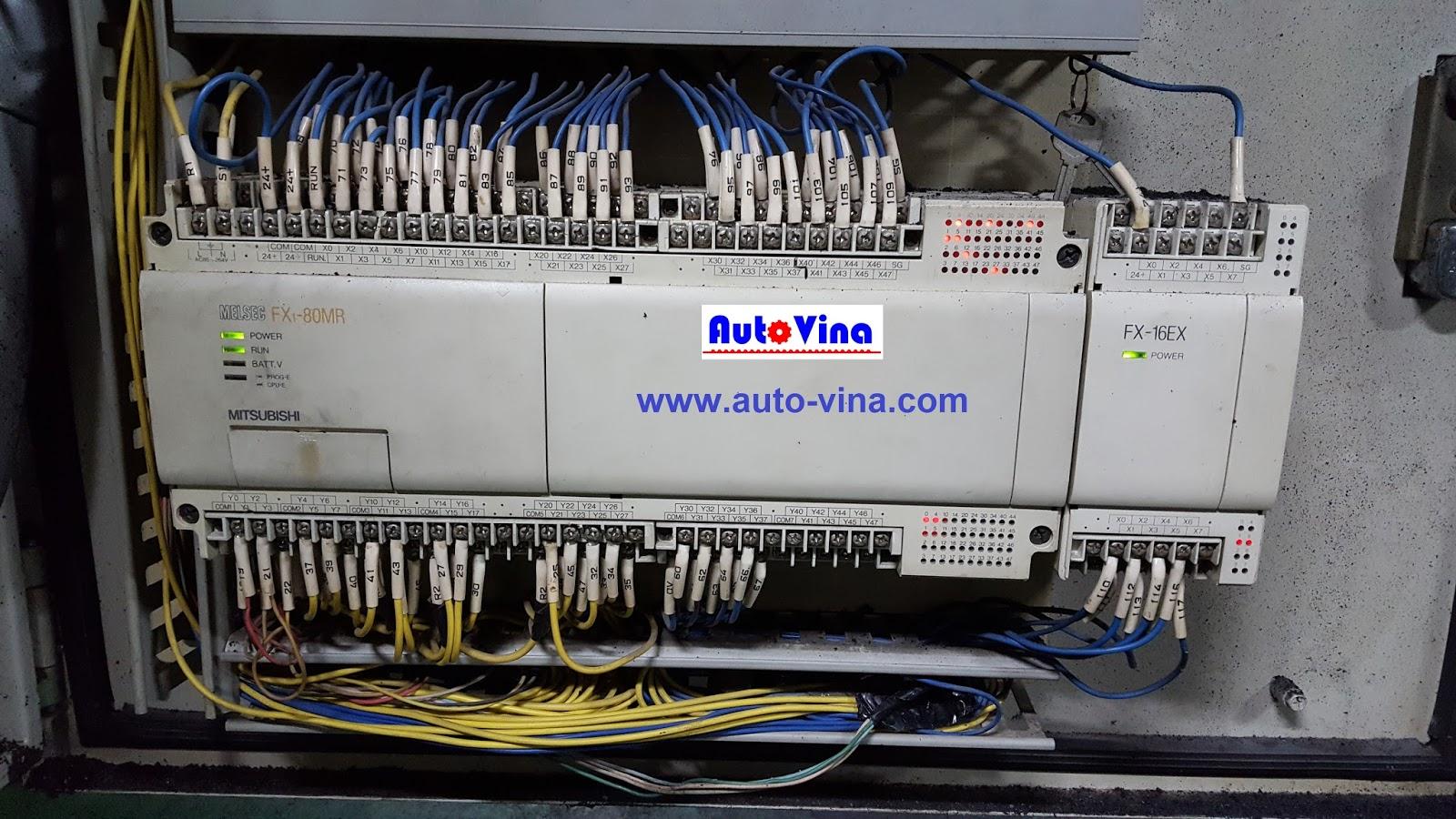 Sửa chữa máy tự động dùng PLC Mitsubishi FX1-80MR và Module 16 ngõ vào FX-16EX