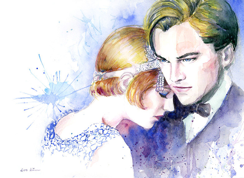19-The-Great-Gatsby-Carey-Mulligan-Leonardo-DiCaprio-Soo-Kim-Celebrity-Watercolor-Portraits-www-designstack-co