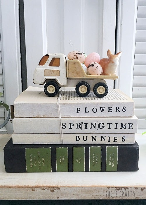 Spring Home Tour - farmhouse, Easter and vintage style-vintage truck with mini eggs and bunny