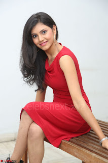 Mounika Telugu Actress in Red Sleeveless Dress Black Boots Spicy Pics 027.JPG
