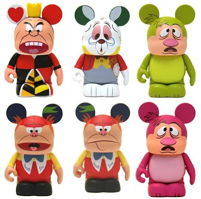 Disney Vinylmation Alice in Wonderland Series - Queen of Hearts, White Rabbit, Hedgehog, Tweedle Dee, Tweedle Dum & Mystery Chase Variant Hedgehog