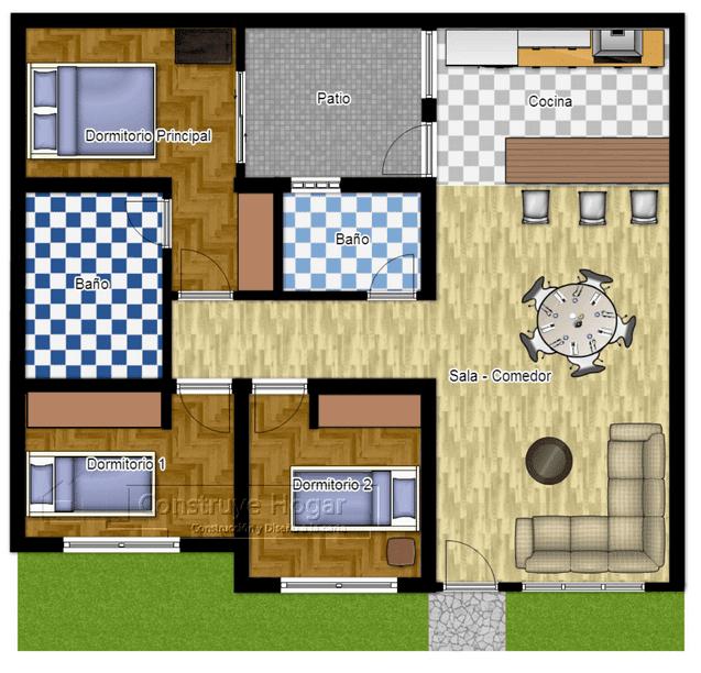 Denah Rumah Ukuran 8x10 3 Kamar Tidur Berbagai Ukuran