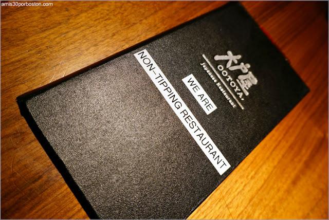 No Propinas en la Carta del Restaurante Japonés Ootoya Chelsea en Nueva York
