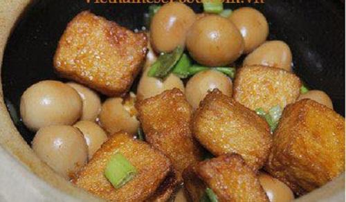 Cách làm trứng cút kho đậu hũ
