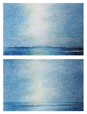 ocean studies mixed media sketches postcards wave light sky by Lisa Le Qulenec ©2017