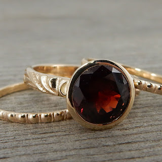 Chatham lab-created ruby recycled 14k yellow gold stacking ring set