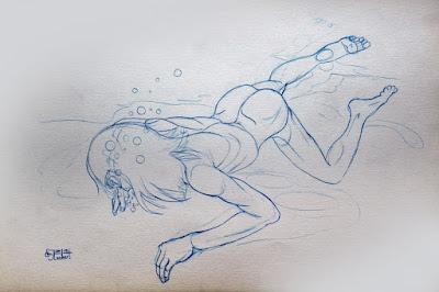 nageur, sous l'eau, piscine, position, dessin, étude, dessin de nu