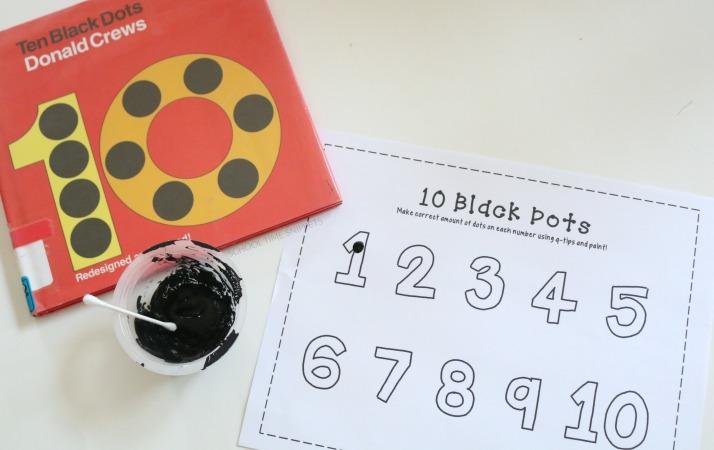 q-tip painting 10 black dots