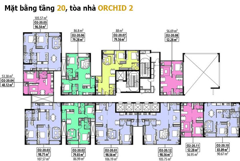 Mặt bằng tầng 20 Orchid 2 - Hado Centrosa Garden