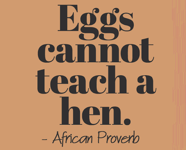 Eggs cannot teach a hen. - African Proverb