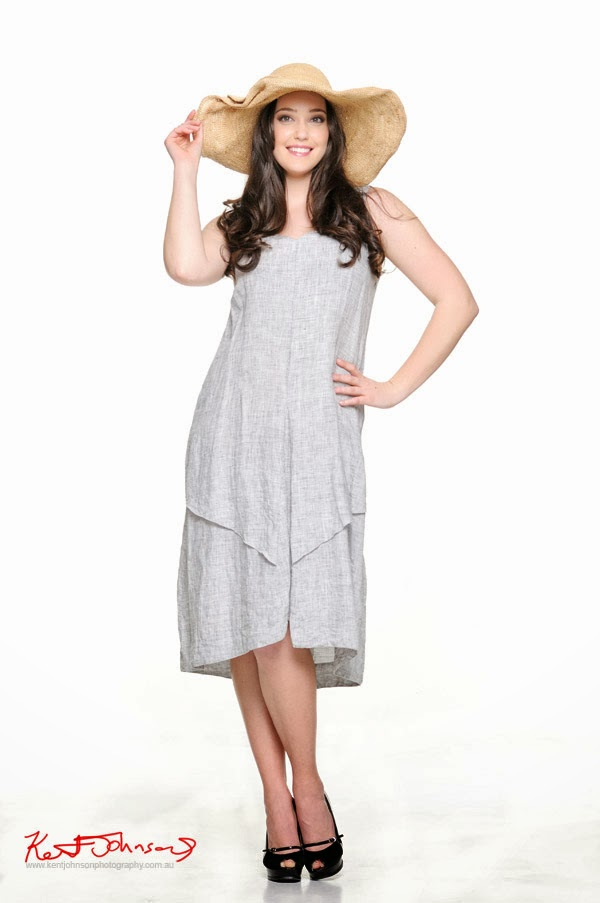 Kathleen Berney Look Book SS 2013, Sun hat, light grey sun dress. Photo by Kent Johnson.