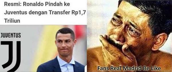 Gagal Move On,Meme CR7 Pindah Ke Juventus Ini Bikin Nangis Fans Madrid
