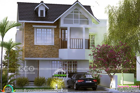 Colonial style, simple elegant budget oriented design in 3 cent plot