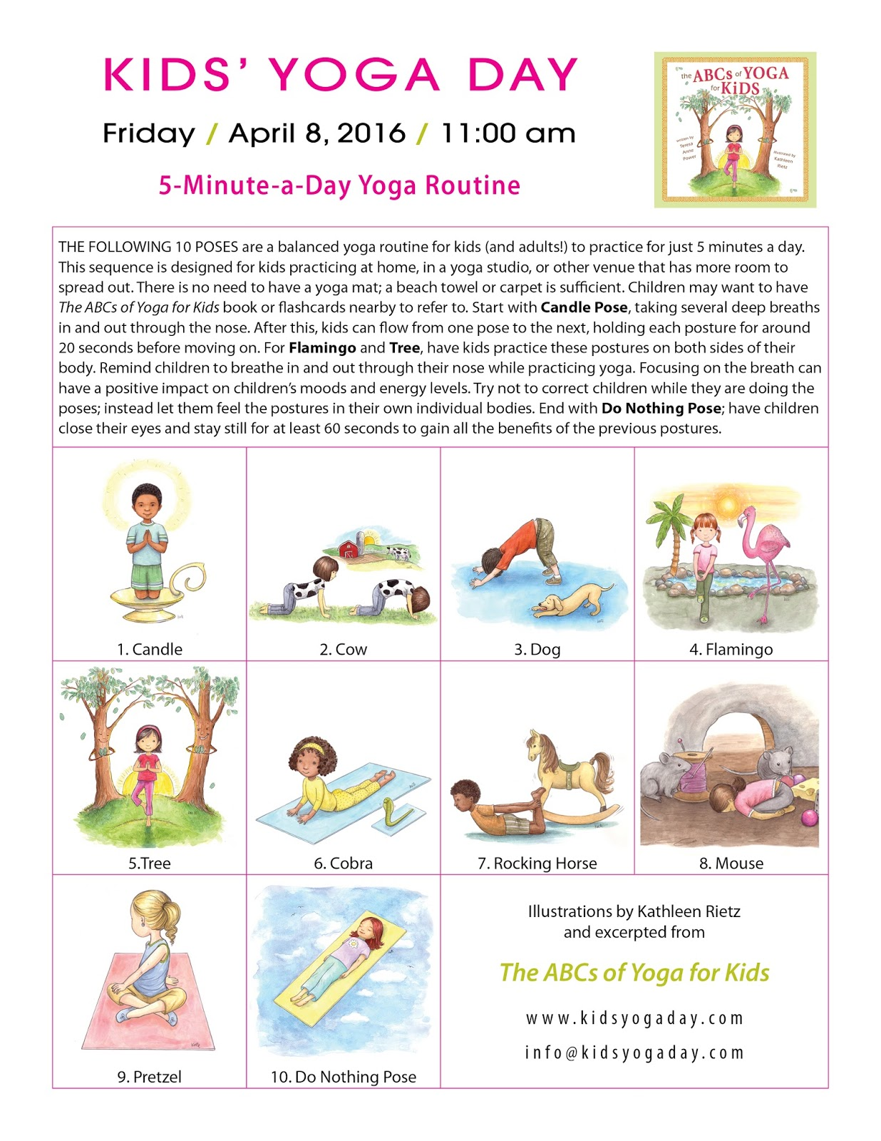 It Is Also One Of The Suggested Yoga Routines For Kids Day And Has 10 Poses That You Your Family Can Practice Together Over Spring Break