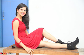 Mounika Telugu Actress in Red Sleeveless Dress Black Boots Spicy Pics 008.JPG