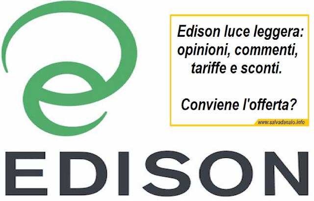 Edison luce leggera: opinioni tariffe e sconti in bolletta, conviene?
