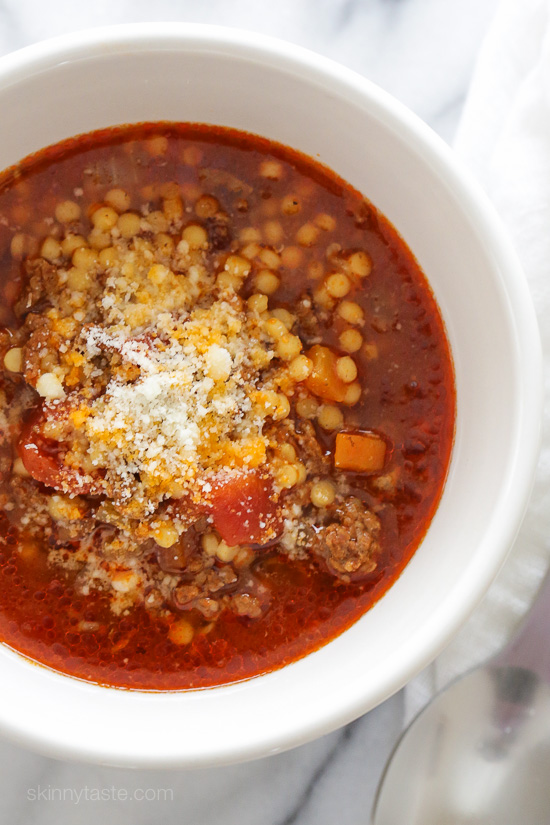 Beef, Tomato and Acini di Pepe Soup (Instant Pot, Slow Cooker + Stove Top)