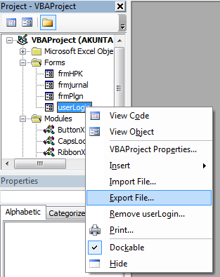 Cara Export UserForm di VBA Excel