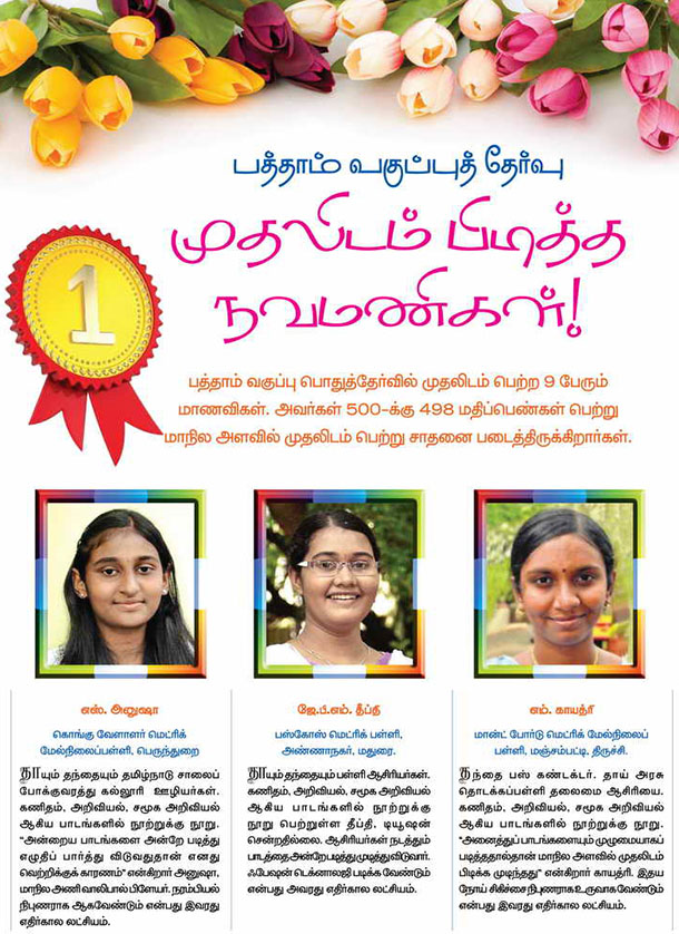 Top scorer students  in tamilnadu sslc exam 2012-13
