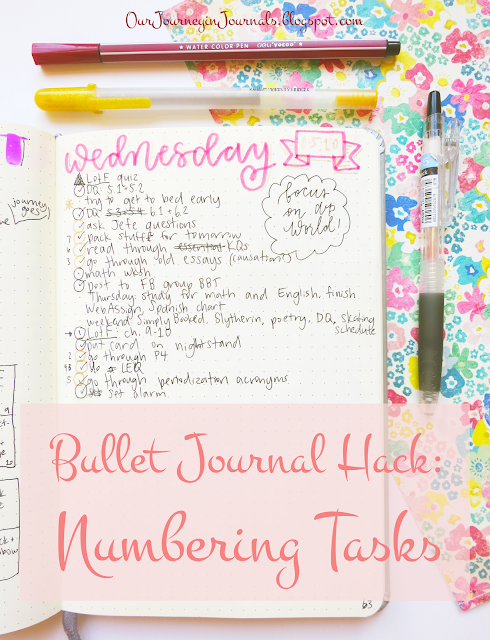bullet journal hack: numbering tasks